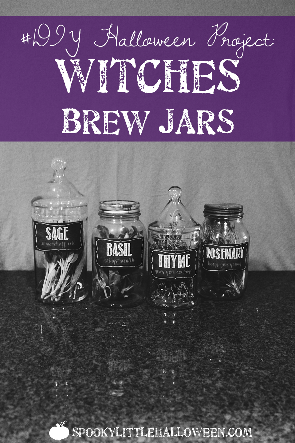 Halloween Craft Idea: Witches Brew Jars - Looking for a way to make your Halloween party a little more witchy? Check out these super simple (and cute!) witches brew jars I made for my 2015 party! | spookylittlehalloween.com