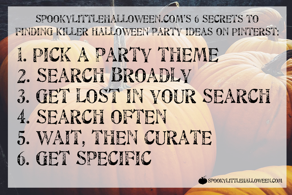 Want to know the secret to finding killer Halloween party ideas on Pinterest? Here are the 6 I use annually to create my Halloweenie Roast parties. | spookylittlehalloween.com