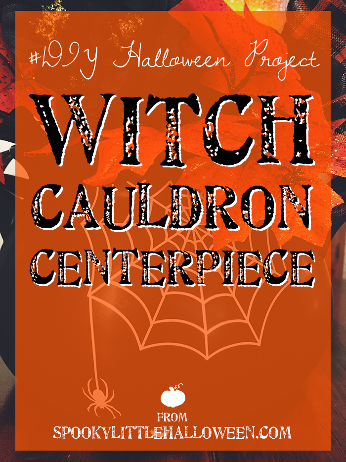 #DIY Halloween Project: Witch Cauldron Centerpiece - Make this super simple DIY witch cauldron centerpiece for Halloween! I'll show you how step by step, plus the sources for all my supplies! | spookylittlehalloween.com