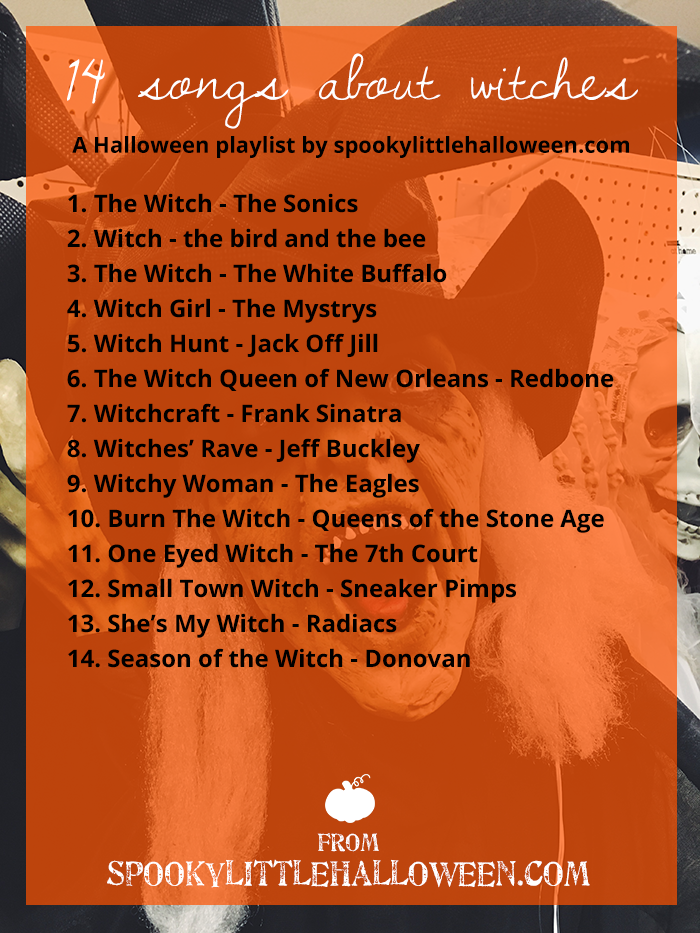 Halloween Mixtape: 14 Songs About Witches - It's time to dust off your Halloween playlists! Looking for the perfect new tune? Spooky Little Halloween is your spot. Here's 14 songs about witches. | spookylittlehalloween.com