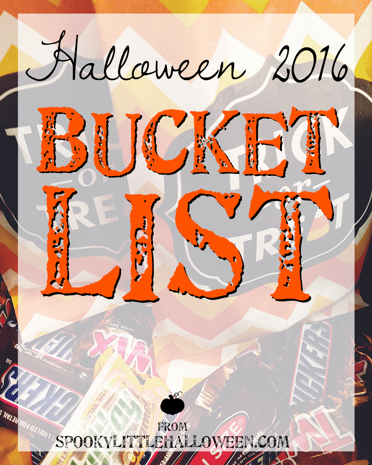 Halloween 2016 Bucket List: How do you make sure you have the MOST fun this Halloween season? By making a Halloween bucket list, of course. Here's the 16 things on mine. | spookylittlehalloween.com